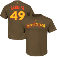 Jake Arrieta Chicago Cubs Majestic 2016 MLB All-Star Game Name & Number Men's T-Shirt - Brown