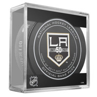 Los Angeles Kings Sher-Wood 50th Anniversary Official Game Puck in Cube