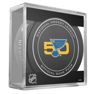 St. Louis Blues Sher-Wood 50th Anniversary Official Game Puck in Cube