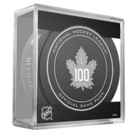 Toronto Maple Leafs Sher-Wood 100th Anniversary Official Game Puck in Cube