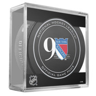 New York Rangers Sher-Wood 90th Anniversary Official Game Puck in Cube