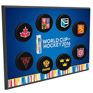 2016 World Cup of Hockey 8 Team Puck Wall Plaque
