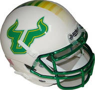South Florida Bulls Alternate White and Green Chrome Schutt Authentic Mini Helmet