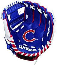 "Wilson A200 10"" Chicago Cubs MLB Baseball Tee Ball Youth Glove - Right Hand Throw"