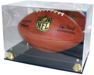Deluxe UV Acrylic Full Size Football Display Case with Mirror & Gold Riser Stand