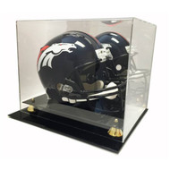 Deluxe Full Size Football Helmet Display UV Case w/ Mirror - Brand New