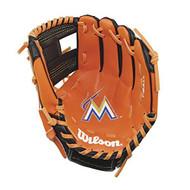 "Wilson A200 10"" Miami Marlins MLB Baseball Tee Ball Youth Glove - Right Hand Throw"