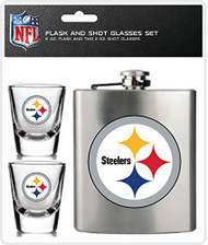 NFL Pittsburgh Steelers Shot Glasses & Brushed Stainless Steel Flask Set