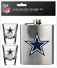 NFL Dallas Cowboys Shot Glasses & Brushed Stainless Steel Flask Set