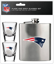 NFL New England Patriots Shot Glasses & Brushed Stainless Steel Flask Set