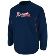 MLB Atlanta Braves Men's Long Sleeve Crew Neck Thermabase Tech Fleece Pullover