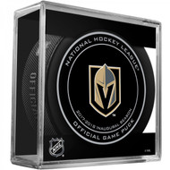 Las Vegas Golden Knights 2017 Inaugural Season Sherwood Official NHL Game Puck in Cube