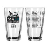 Philadelphia Eagles Super Bowl LII 52 Champions 16 oz. Roster Pint Glass