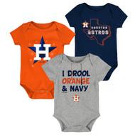 Houston Astros Big Time Fan Toddler 3-Pack Baby Creeper Bodysuit Onesie Set