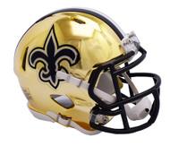 New Orleans Saints Speed Riddell Replica Full Size Helmet - Chrome Alternate