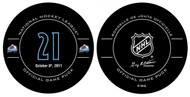 Peter Forsberg #21 Colorado Avalanche Special Retirement Official NHL Game Puck in Cube