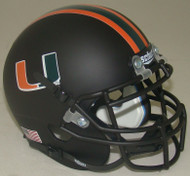 Miami Hurricanes Alternate Matte Black Schutt Mini Authentic Helmet