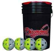 Diamond 6-Gallon Ball Bucket with 36 TruFlite Flexible Training Baseballs