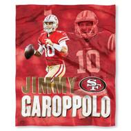 "NFL Jimmy Garoppolo San Francisco 49ers Silk Touch Throw Blanket Size 50"" x 60"""