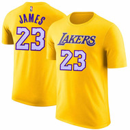 LeBron James Los Angeles Lakers #23 Gold NBA Youth Name & Number T-shirt