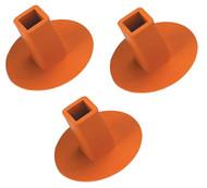 Rubber Ground Receptacle Anchor Base Plugs - Orange (3-pack)