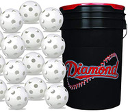 Diamond 6-Gallon Ball Bucket with 30 Sports White Plastic Baseballs Hollow Balls for Wiffle Practice