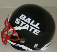 Ball State Cardinals Alternate Black with Red Mask Schutt Mini Authentic Helmet