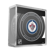 Winnipeg Jets Sher-Wood Inglasco NHL 100th Anniversary Official Hockey Puck in Cube
