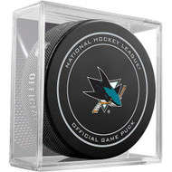 San Jose Sharks Sher-Wood Inglasco NHL 100th Anniversary Puck in Cube