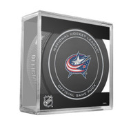 Columbus Blue Jackets Sher-Wood Inglasco NHL 100th Anniversary Official Hockey Puck in Cube