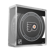 Philadelphia Flyers Sher-Wood Inglasco NHL 100th Anniversary Official Hockey Puck in Cube