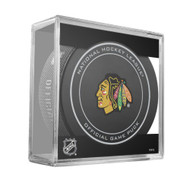 Chicago Blackhawks Sher-Wood Inglasco NHL 100th Anniversary Official Hockey Puck in Cube