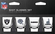 Oakland Raiders Shot Glass 2oz 4 Pack