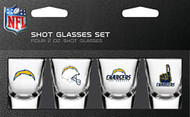 Los Angeles Chargers Shot Glass 2oz 4 Pack
