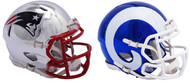 Super Bowl LIII 53 Chrome Mini Football Helmets - New England Patriots - Los Angeles Rams