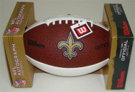 New Orleans Saints Logo White Panel Autograph Full Size Wilson Football
