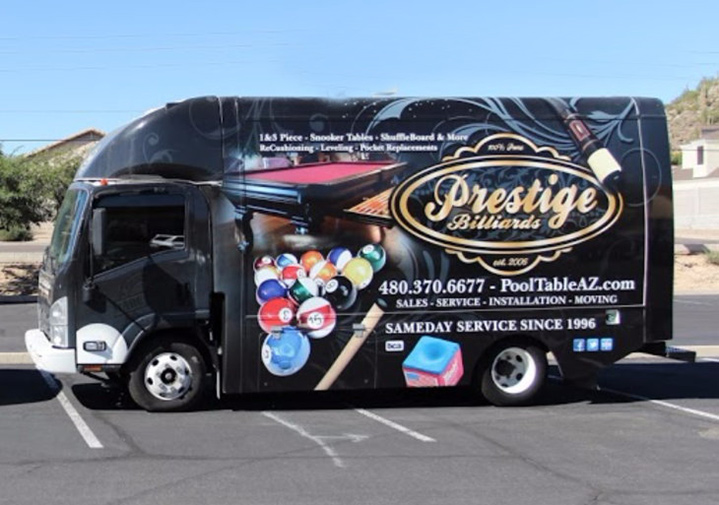 Prestige Billiards & Gamerooms truck