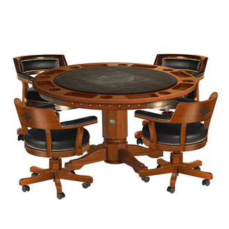 Wooden poker table and chairs with black accents  sc 1 st  Prestige Billiards & H-D® Bar u0026 Shield Flames Poker Table u0026 Chairs Set w/Heritage Brown ...