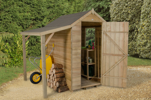 Overlap Pressure Treated 6x4 Apex Shed with Lean To