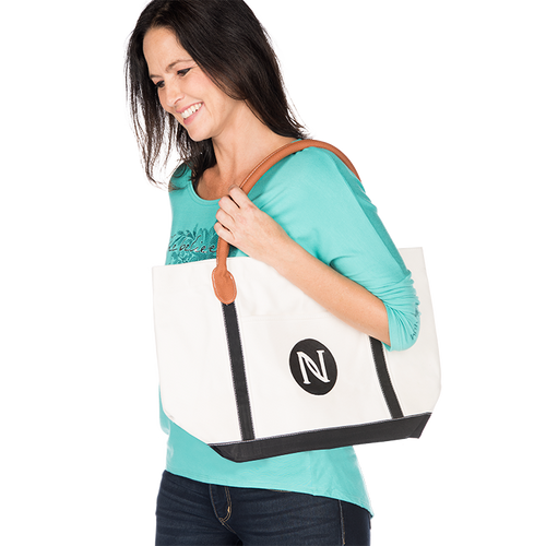 Color Block Canvas Tote
