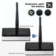 Long Range Bluetooth Transmitter Receiver Set with APTX LOW LATENCY by HomeSpot for TV PC Pre-Paired Wireless Audio Adapter Set