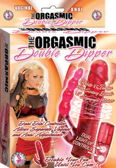 Orgasmic Double Dipper Vaginal and Anal Red Vibrator