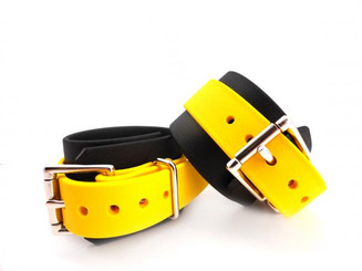 Ankle Restraints Biothane Black and Yellow