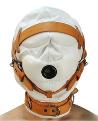 Total Sensory Deprivation White Leather Hood - Small/Medium