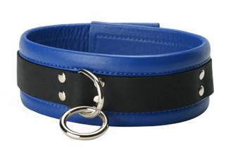Blue Mid-Level Leather Bondage Collar