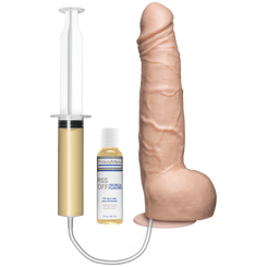 Vac-U-Lock 10 Inch Realistic Squirting Dildo - Vanilla (VIDEO)