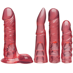 Vac-U-Lock Sex Machine Crystal Jellies Dildos Pink Set