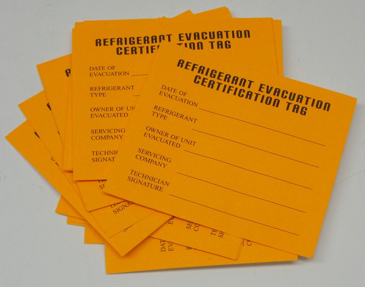 Refrigeration Evacuation Recover Cerification Tag Stickers 24 Pack