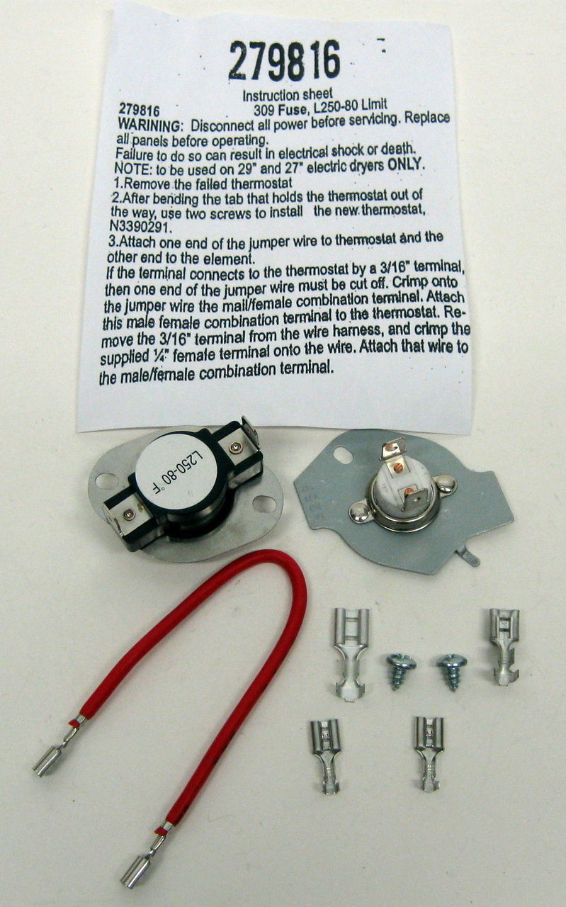 Dryer Kit For Whirlpool W Thermostat Thermal Fuse Mccombs Kenmore Electric Further Washing Machine Motor Wiring Supply Co 3390291 3977393