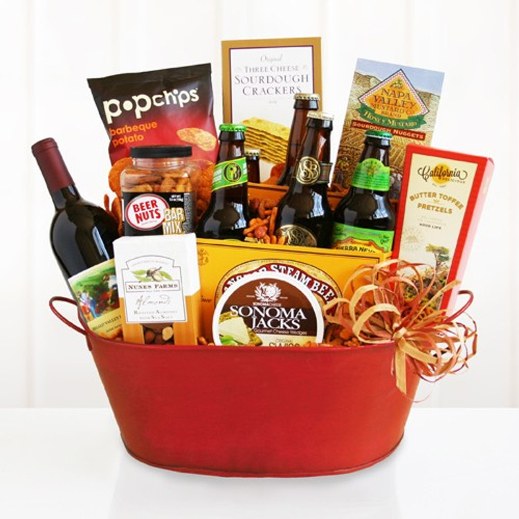 A fun and festive assortment of signature and craft beers, cheese, crackers, chips, pretzels, nuts and snacks.